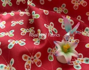 Riley Blake Garden Girl - Butterfly Raspberry by Zoe Pearn - Sold by the Yard - 100% Cotton