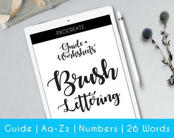 Hand Lettering | Procreate | practice sheets | Worksheets | Guide for Beginner | Brush Lettering workbook | Learn Calligraphy | iPad | iB1