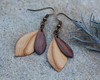 Wooden earrings ethno//earrings wood//wooden earrings//women//wood jewelry//Holzohr hanger//natural//ECO//Nature