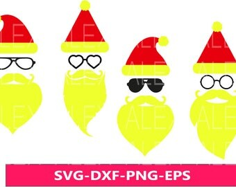 70% OFF, Hipster Santa SVG, Santa SVG, Christmas Face Svg,  Christmas svg, Santa Face Svg, Dxf, Eps, Png files, Silhouette