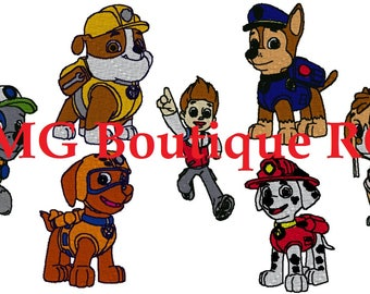 set of Paw Patrol embroidery design ( Chase, Marshall, Rocky, Zuma, Rubble, Skye and Ryder )
