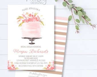 Pink Cake Bridal Shower Invitation, Watercolor Bridal Shower Invite, Cake Bridal Shower, Floral Pink Shower Invite, Bridal Shower Invite