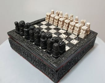 Chess Set Marble Aztec Stone Mayan Vintage
