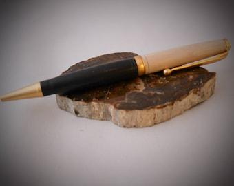 Artisan handmade ballpoint pen from ebony and stone beech