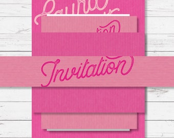 Stacked wedding invitation set - pink - Sugar Rush design and printed on top quality card