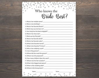 Silver Bridal Shower Games, Who knows the Bride Best, How well do you know the bride, Printable, Silver Confetti, Bridal Shower Quiz, J014