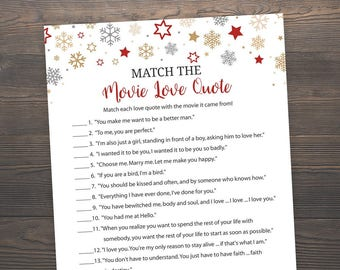 Winter Wedding, Bridal Shower Games, Match the Movie Love Quote, Printable Bridal Shower, Movie Quote Game, Movie Love Quotes, J021