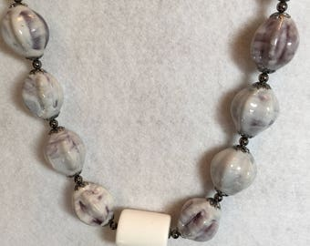 White and Lavender Porcelain Necklace