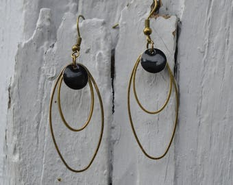 long black earrings 2 oval bronze