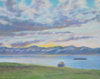 ICELAND Art SUNSET LANDSCAPE in Original 12 x 16 inch pastel painting of a  lone house bordering an inlet by Sharon Weiss