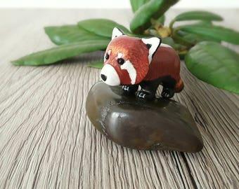 Red panda miniature handmade hand painted polymer clay animal figurine totem sculpture ornament