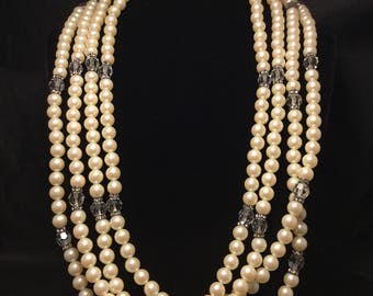 HOBE' Huuuuuuge Choker/Bib Faux Pearls, Crystals and Rondells  Necklace