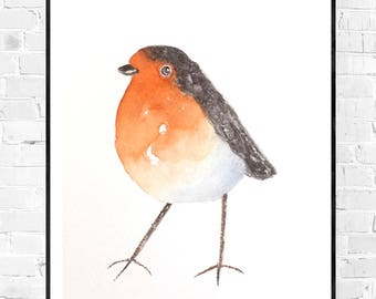 Original watercolor painting-robin robin-Robin watercolor-colorful art-zen art-animal painting-bird painting-small art-gift for her