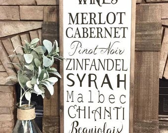 Red Wines Wood Sign, Farmhouse Sign,  Farmhouse Decor, Farm Kitchen Sign, Kitchen Decor, Wood Signs, Wine Decor, Winery Signs, Rustic Decor