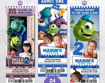 Monsters University Invitation, Monsters University Invite, Monster Birthday Party, Monsters University Movie, VIP Pass, Ticket Invitation
