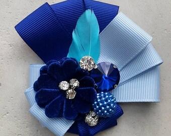 Blue brooch. handmade brooch. rep ribbon brooch. classic brooch.