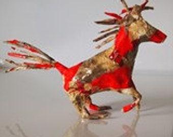 papier mache decopatch horse sculpture