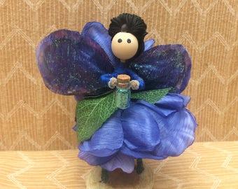 Fairy Flower Petal Doll, Blue Flower Petal Fairy, Fairy Garden Fairy, Fairy, Pixie Dust Fairy, Miniature Fairy, Fairy Collectible,