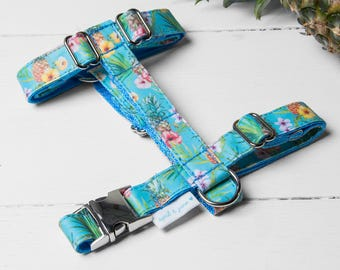 """Dog Harness or Cat Harness """"Tropical Pineapple Harness"""" Adjustable Harness and Leash Set"""
