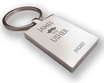 Personalised engraved USHER keyring wedding gift, thank you favour, mustache - MU1