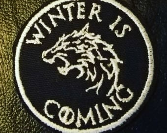 Winter Is Coming Stark house Words patch Game of Thrones GoT dragon wolf