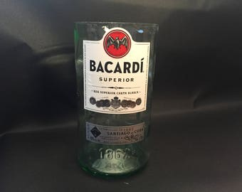 Huge 1.75L vs 750ML Bacardi Candle Silver Superior Rum Bottle Soy Candle. Made To Order !!!!!!!