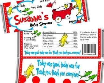 Digital Printable ~ Dr. Seuss One Fish, Two Fish ~ Baby Shower Candy Bar Wrappers ~ Digital Printable!
