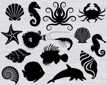 Ocean SVG Bundle and clipart, Beach svg, under the sea svg, ocean animals svg, fish svg, seashell svg files for silhouette, cricut, dxf, png