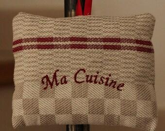 Eye pillow is in 'My kitchen' tea towel