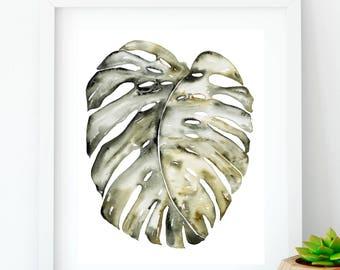 Monstera, Botanical print, Palm leaf, Wall art, Monstera leaf print, Monstera deliciosa, Tropical wall art, Wall decor, Digital download.