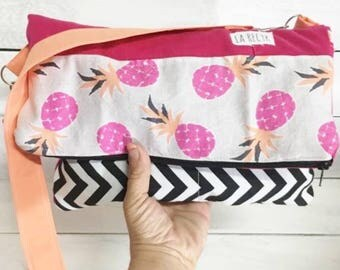 SALE Flyp, pineapple, recycled shoulder bag, Fuchsia, green