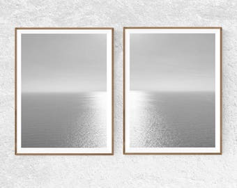 Ocean Print Set of 2 Ocean Wall Art Black and White Ocean Seascape Print Coastal Decor, Coastal Art Download Nautical Decor Minimalist Ocean