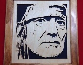 Willie Nelson Wooden Portrait