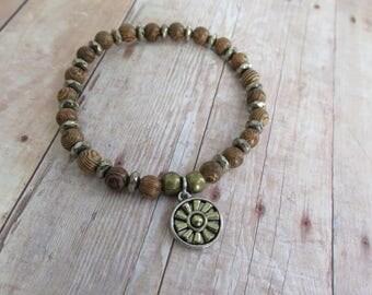 Pyrite Bracelet, Wood Bead Bracelet, Sun Charm Bracelet