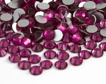 Fuchsia Flatback Glass Rhinestones for Embellishments 2-6mm
