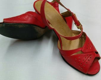 Vintage Red Sandals - early 80's