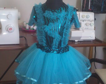 Skirt set - turquoise tutu ,tulle for girls of 7 years-122 size.