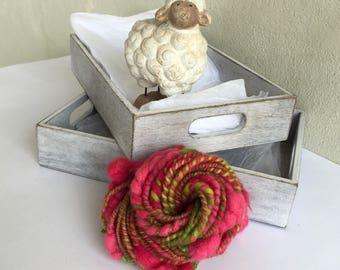 Rose Garden, mini handspun artyarn for knitting, crochet, weaving or any fiber crafts, 23g (36 yd)