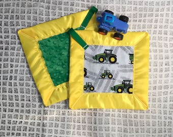 Running like a Deere lovey - security blanket - John Deere- baby shower gift