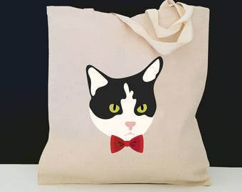 Personalized Tuxedo Cat Tote Bag (FREE SHIPPING), 100% Cotton Canvas Cat Tote Bag, Tuxedo Cat Tote Bag, Cat Totes, Black and White Cat Gift