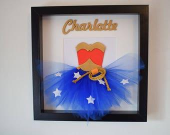 Wonder Woman Personalised Tutu Frame Wall Art / Superhero frame / Perfect girls birthday gift / First Birthday Gift / Wall Art / Nursery