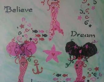 Trio of Curly Puff Inspiring Mermaids painting, watercolors painting, Mermaid Inspiration