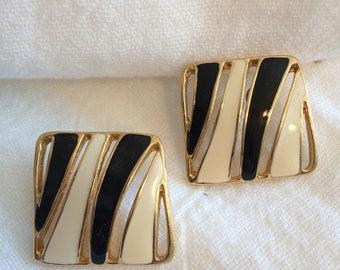 Goldtone/White and Black Enamel Slashed Post Earrings