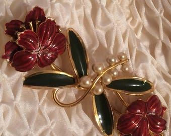 Goldtone Double Flower Bloom Brooch
