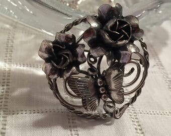 Michele Sterling Silver Butterfly and Flowers Brooch