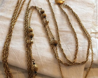 Goldtone Triplestrand Necklace w/ Beaded Sections