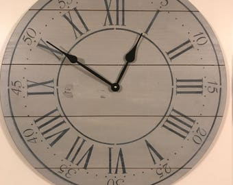 """24"""" Wall Clock - Custom Farmhouse & Rustic Style in Gray and whitewash"""