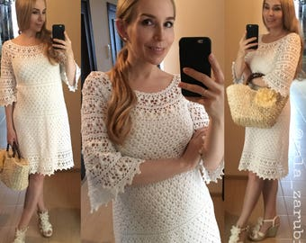 Woman crochet lace dress Jasmine pattern, instant download, PDF detailed tutorial, free silhouette, cotton, summer, written and schematical