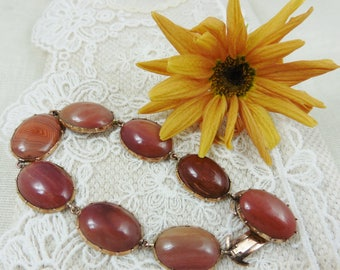 Beautiful Gorgian Banded Agate Bracelet C1920's  Gorgian bracelet. brown agate bracelet Gorgian. rose gold