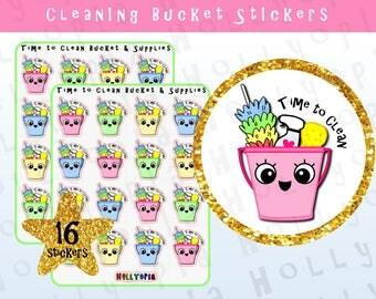16 Cleaning Bucket Planner Stickers, Chores, Supplies, Bucket, Clean, Perfect for your Happy Planner, Erin Condren, Filofax, etc, UK